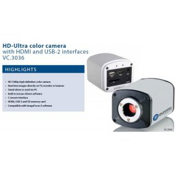 Euromex HD camera USB-2 and HDMI aansluitingen